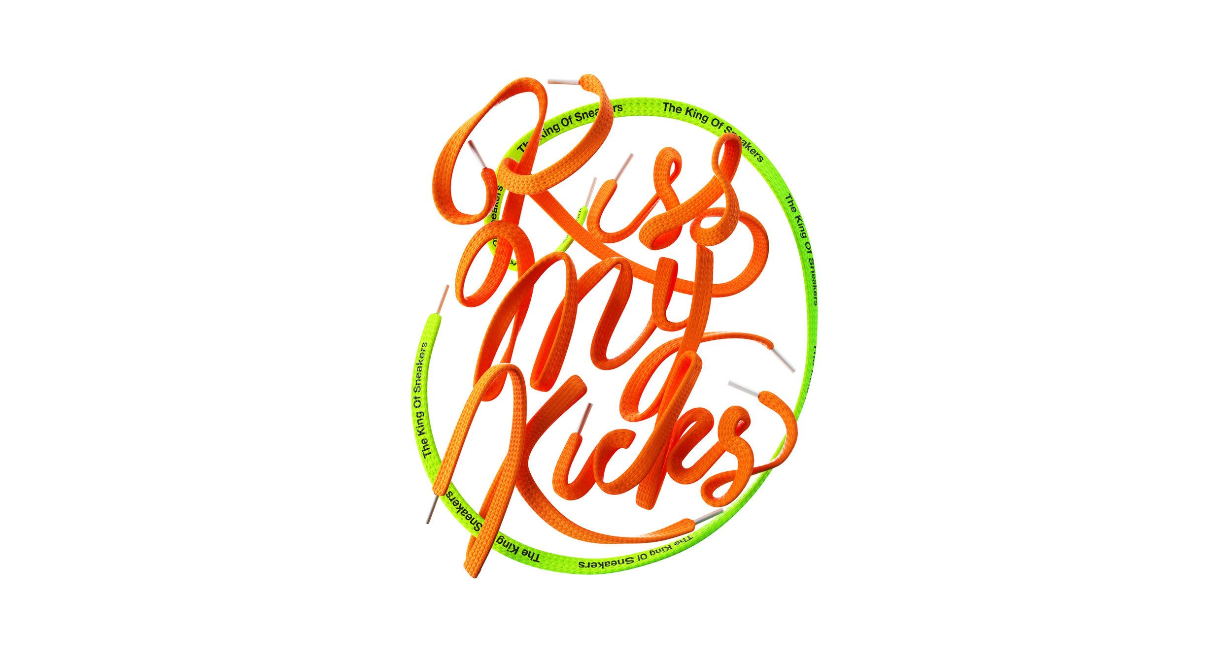 KissMyKicks-3DTypography_ShoeLace_OrangeGreen_BenFearnley-Wide.jpg