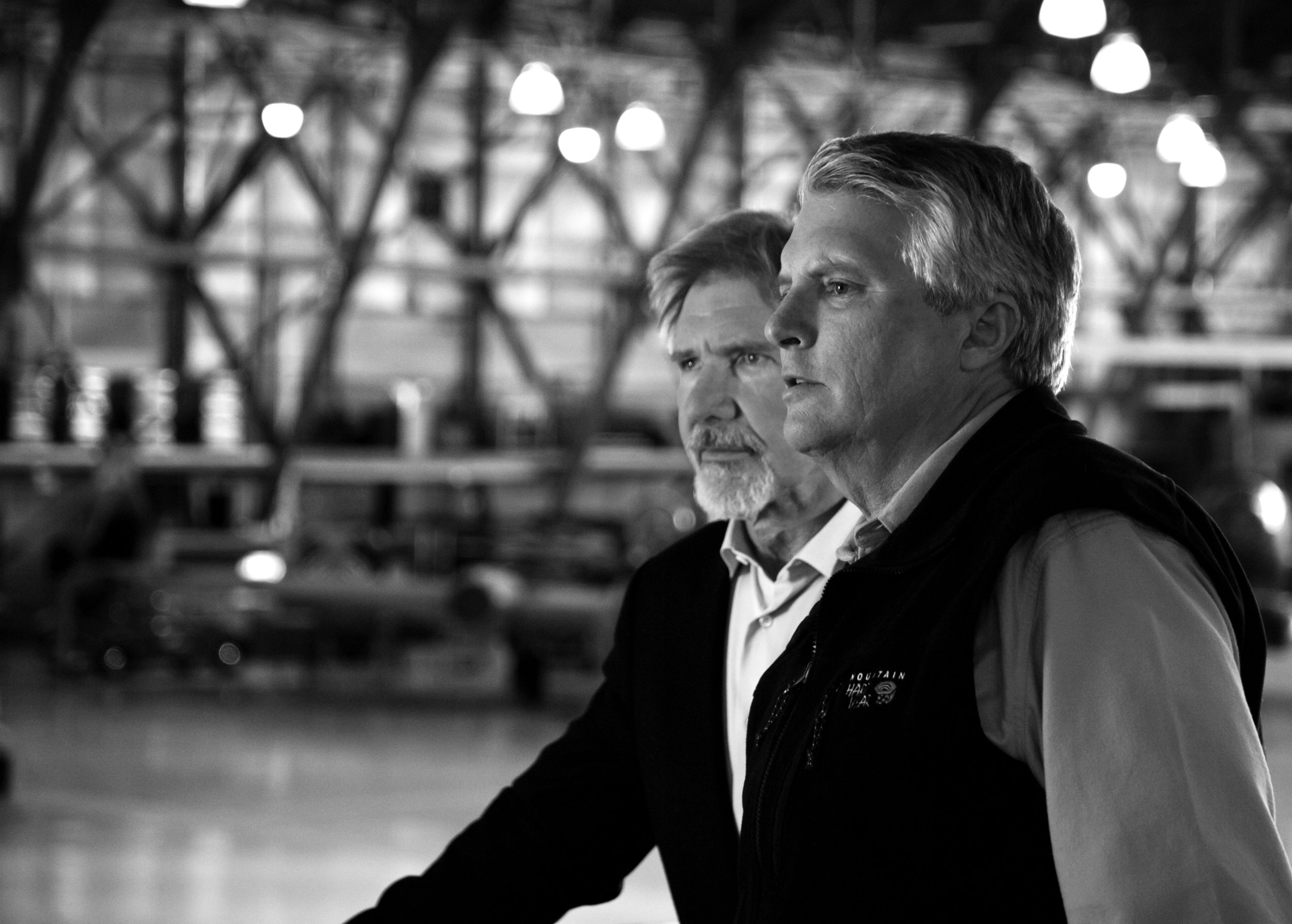 On location with Harrison Ford, overseeing writing and direction of a promotional film shoot for Wings Over the Rockies.