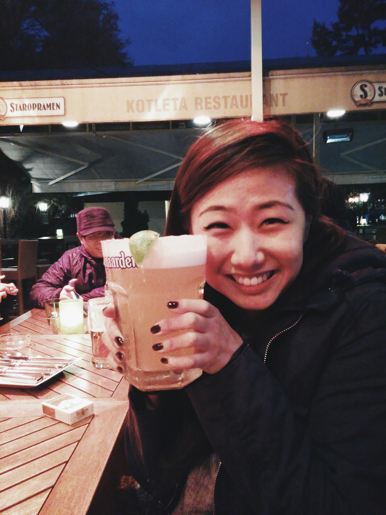 {Giant beer the size of my face. Before I spilled it all over Bo.}