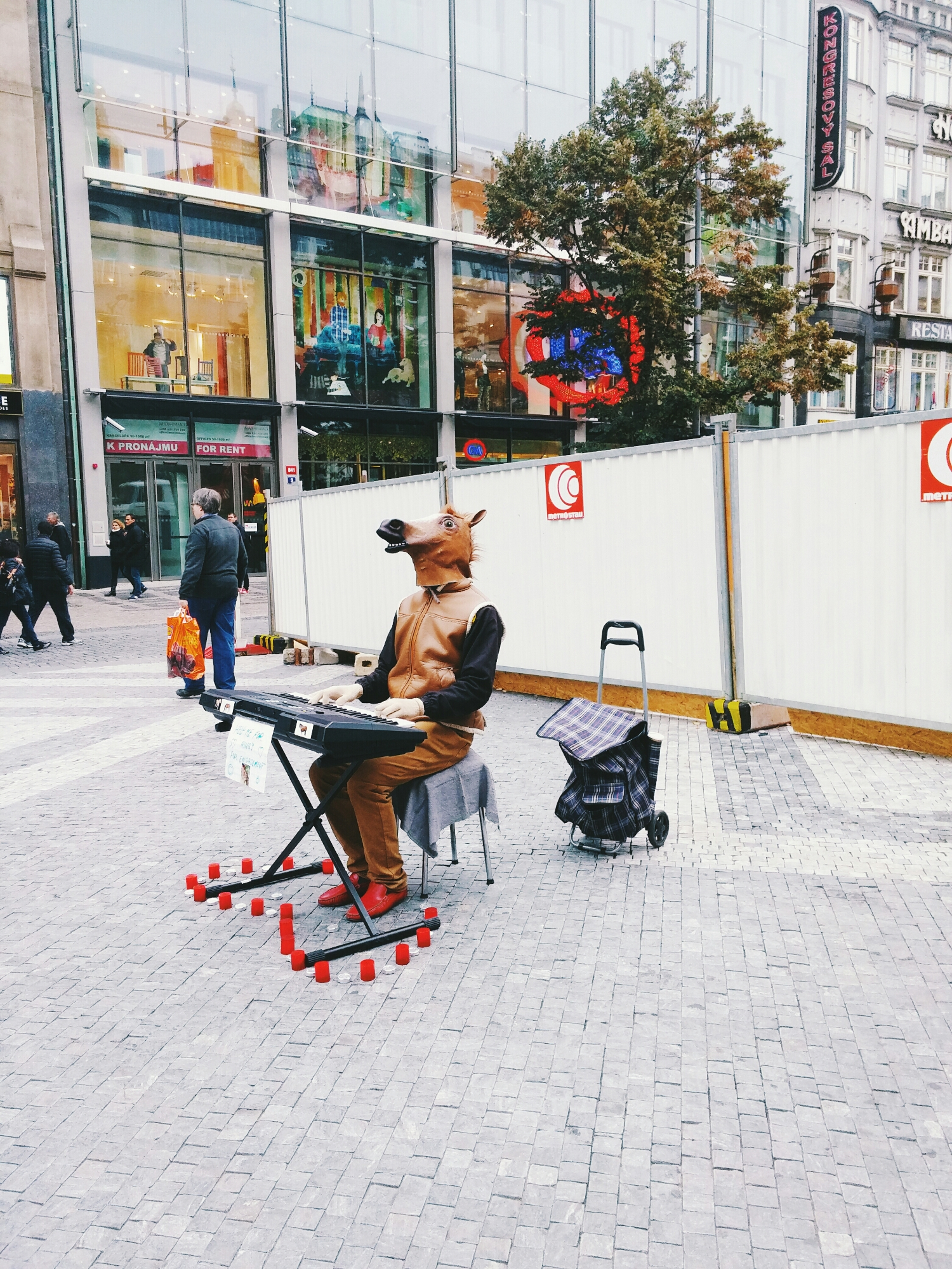 {This fellow was playing tunes and neighing while shaking his horse head. It was hilarious & gathered quite a group.}