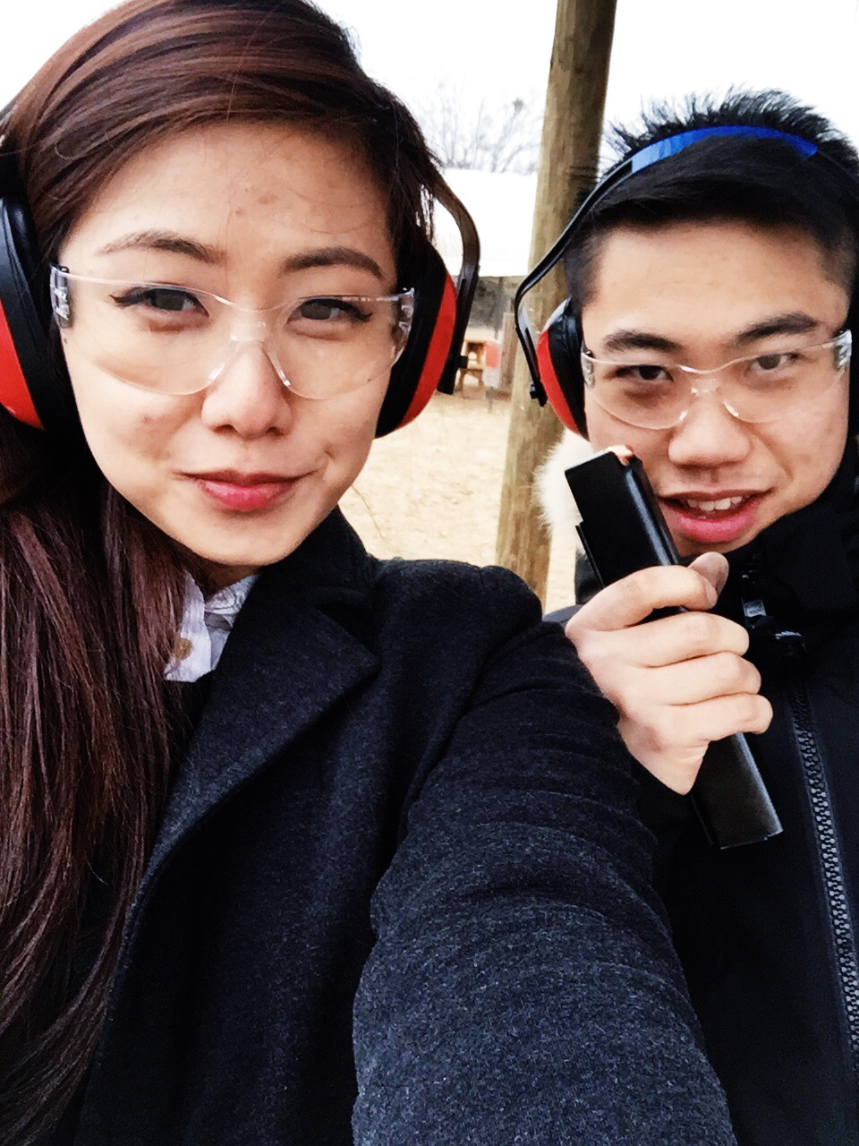 {those ear protectors functioned pretty well as earmuffs in the frigid cold.}