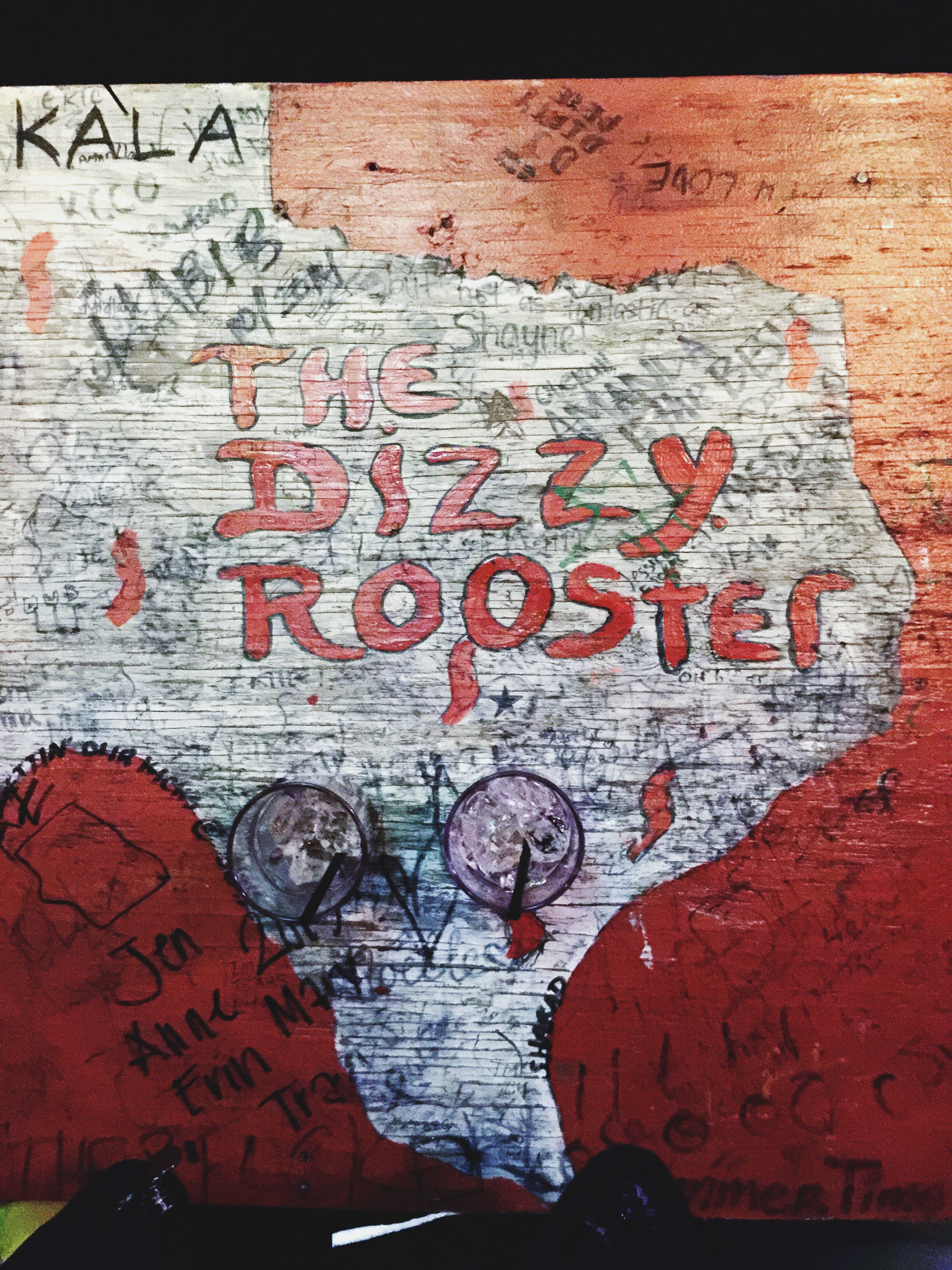 {the dizzy rooster, one of our many stops on sixth street.}