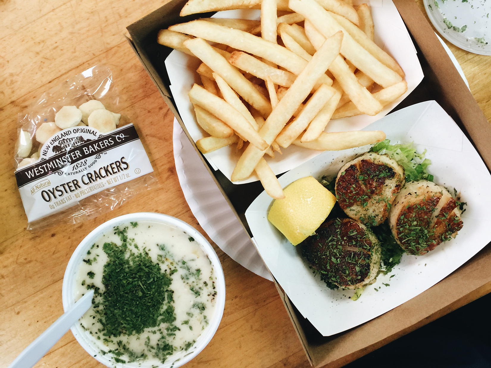 {Clam chowder, fries, and seared scallops.}