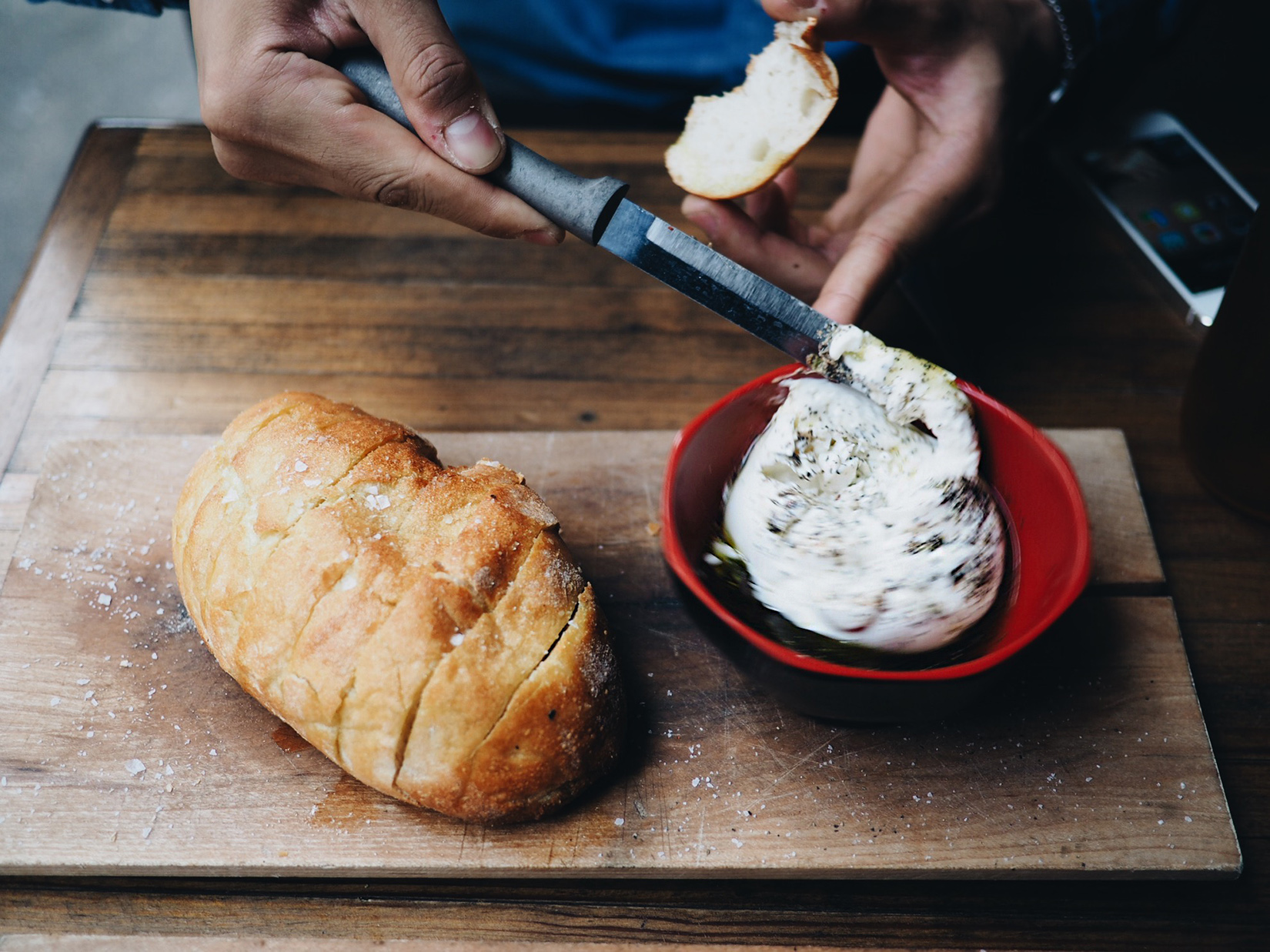 {Sung spreads burrata 3.}