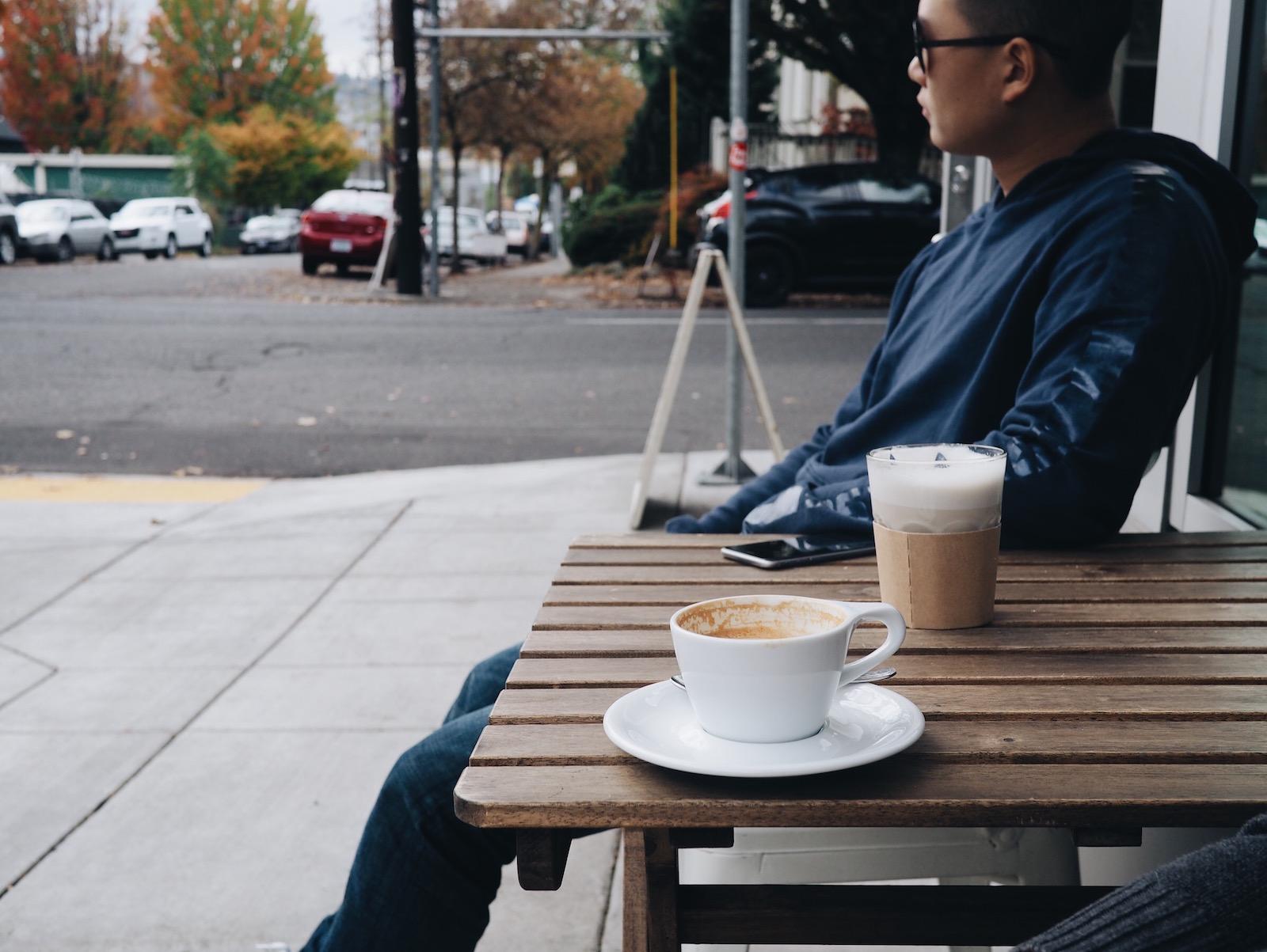 {John's chai // Ed's latte.}