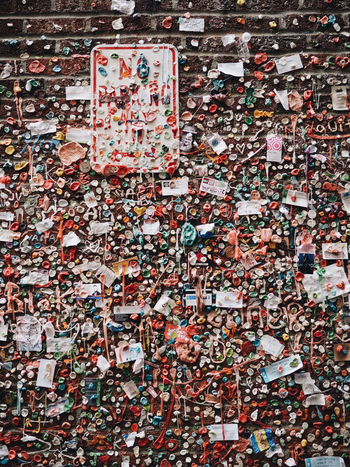 Gum Wall before they power-washed it.