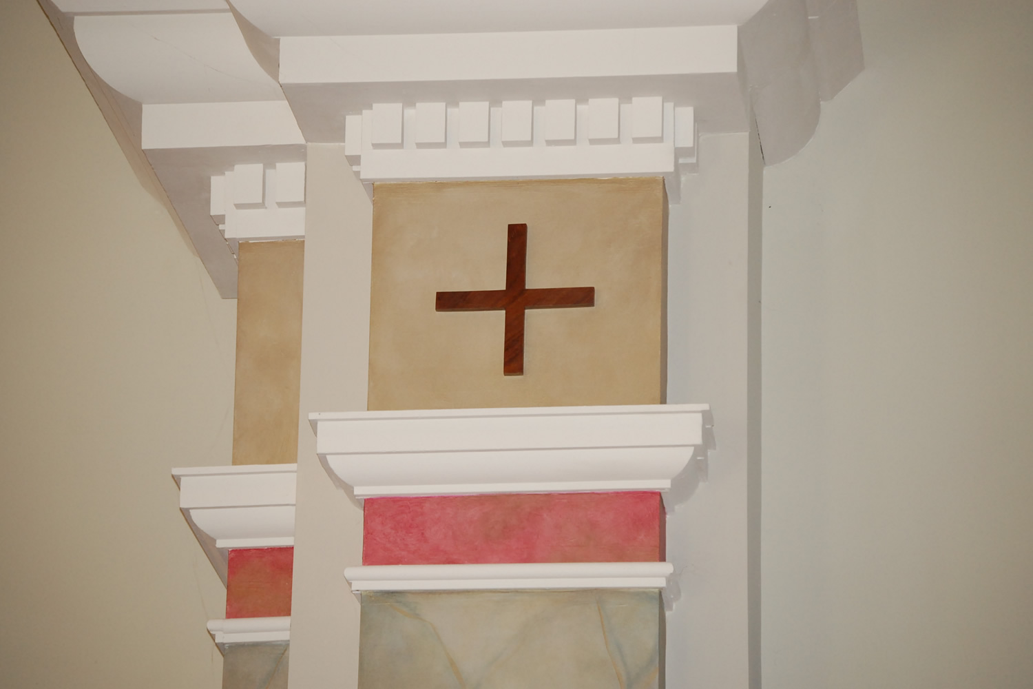 The symbol of the cross is prevalent throughout the campus