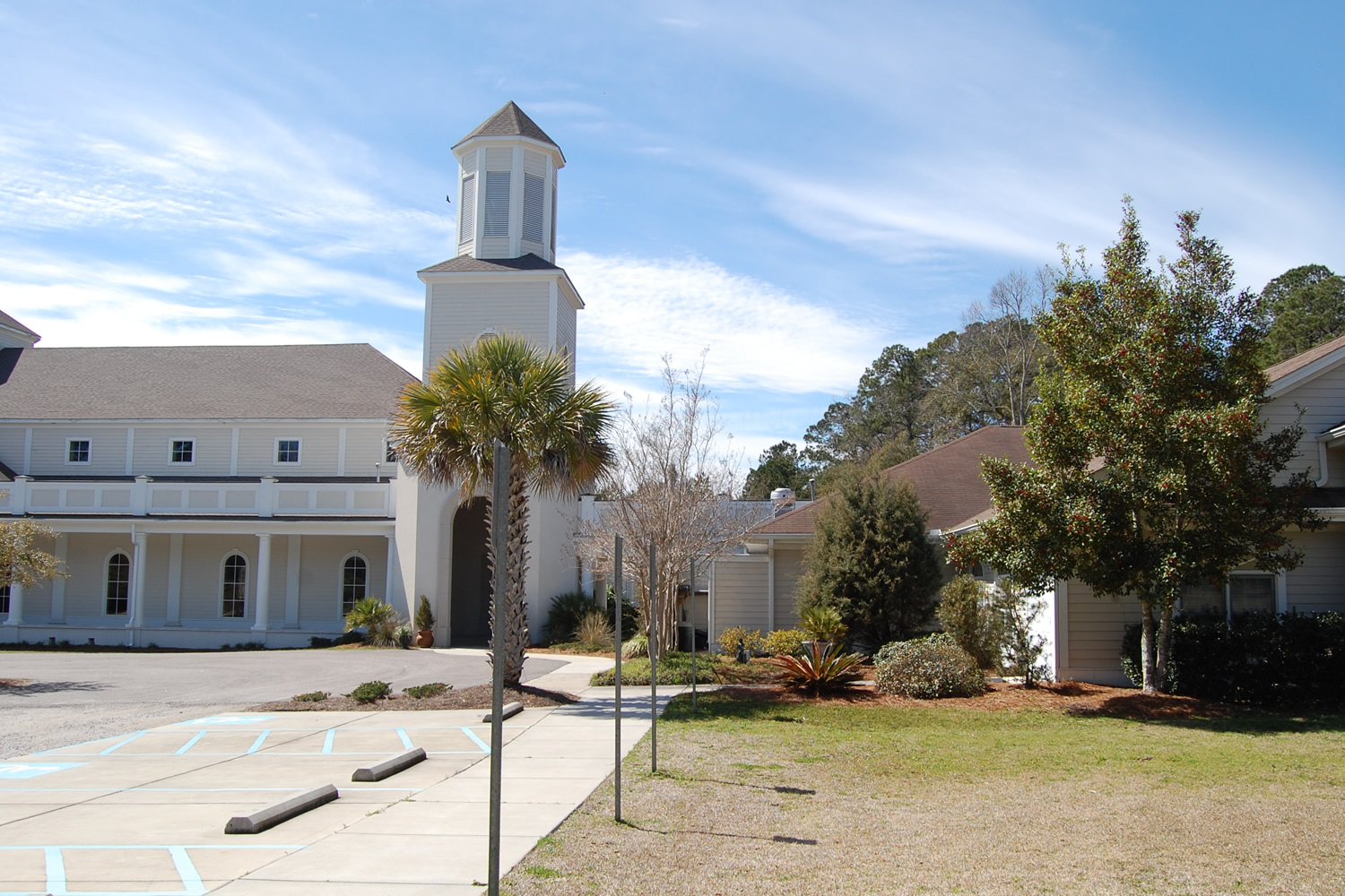 To your left is the Sanctuary where worship services are held.    To your right is the Ministry Center, containing classrooms, offices, a library, and a large gathering room and kitchen.