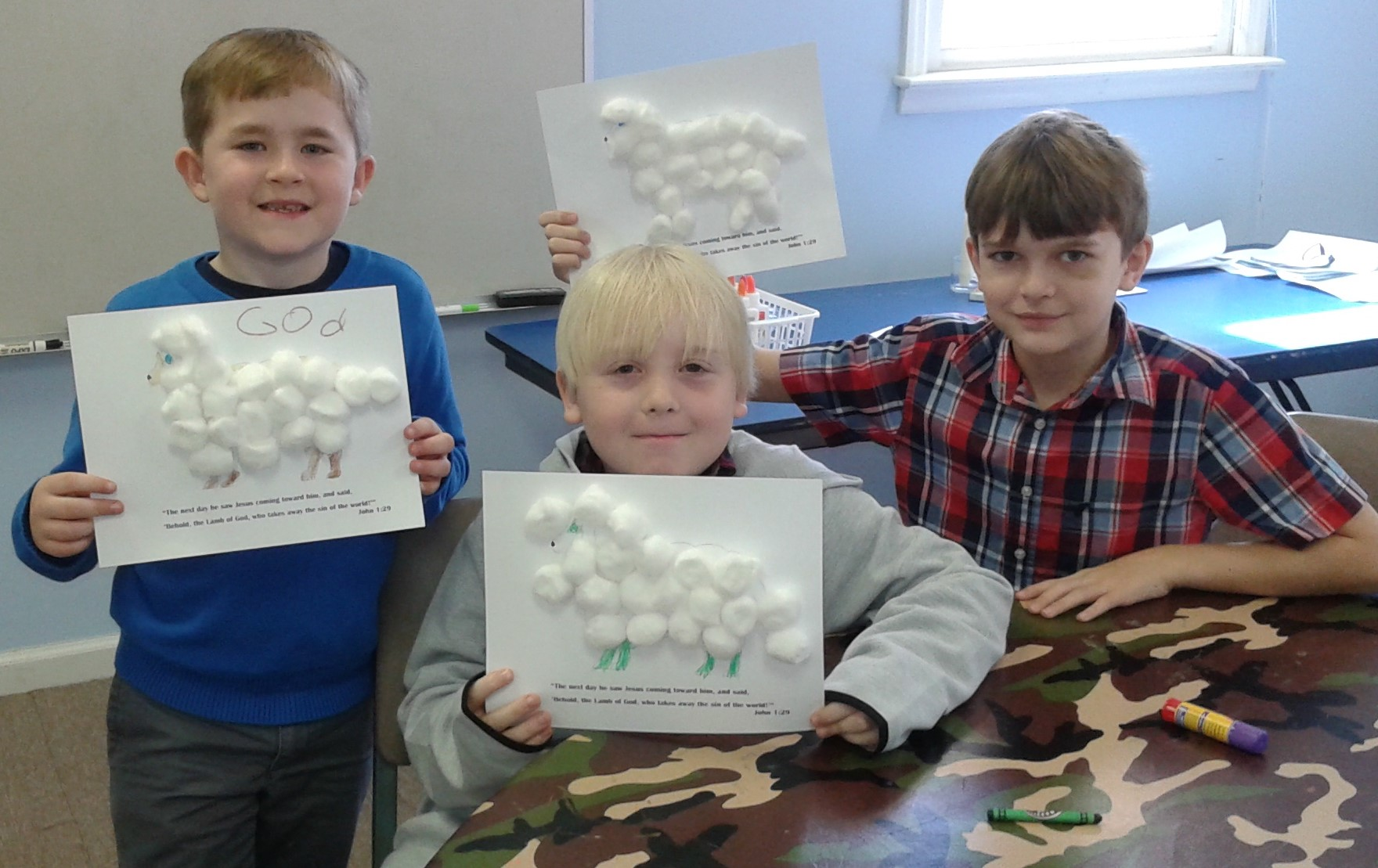 The boys have finished their lambs, our symbol for this lesson.
