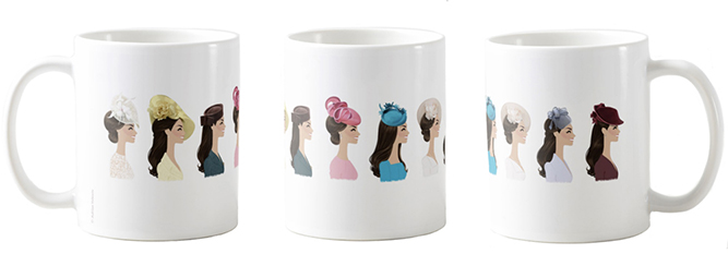 Hat Day Mug 1 . Left, middle, right views