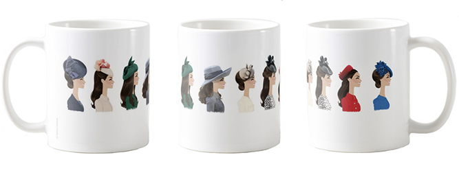 Hat Day Mug 2 . Left, middle, right views