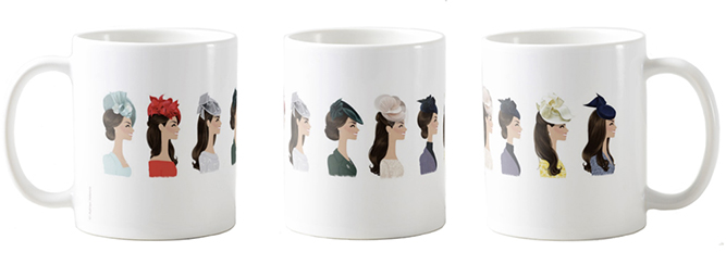 Hat Day Mug 3 . Left, middle, right views