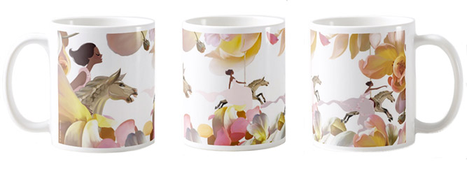 Flowers & Horses Mug . Left, middle and right views