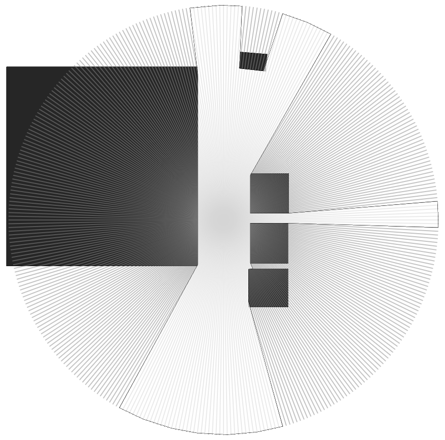 The viewshed polygon generated (white)
