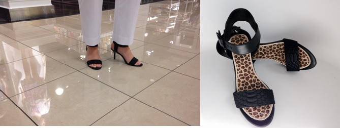 Shopping in Heels: Steve Madden Black Leather High Heel Sandals with Cheetah SummerSox