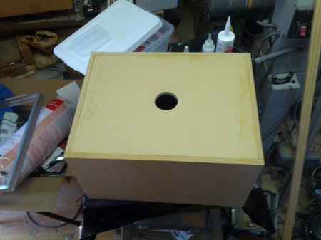 The box that holds the shop vac parts and where the controls will go.