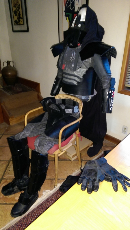 Checking Darth Malgus costume for needed repairs