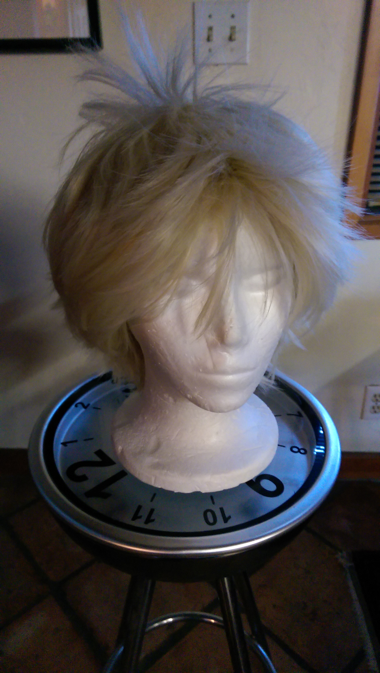 The next big challenge will be modifying this wig to match the War Doctor's hair. They don't look that similar right now, but I know the changes that need to be made.