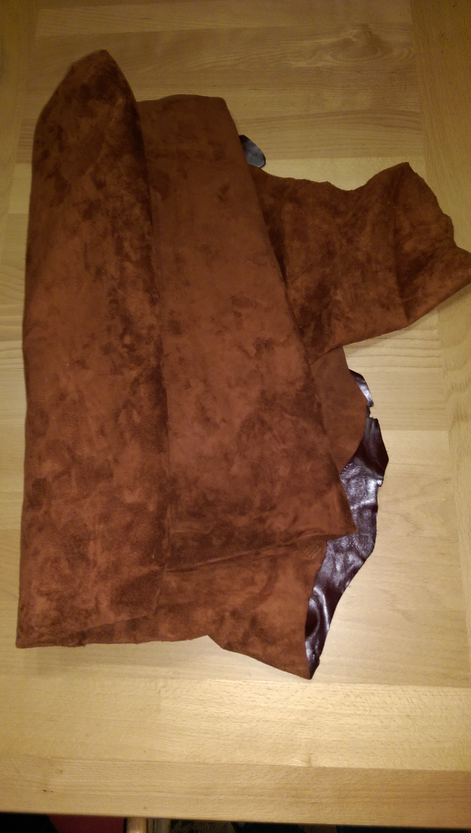 I have a big piece of reddish brown suede I pulled out of my fabric storage that will be used for the gaiters.