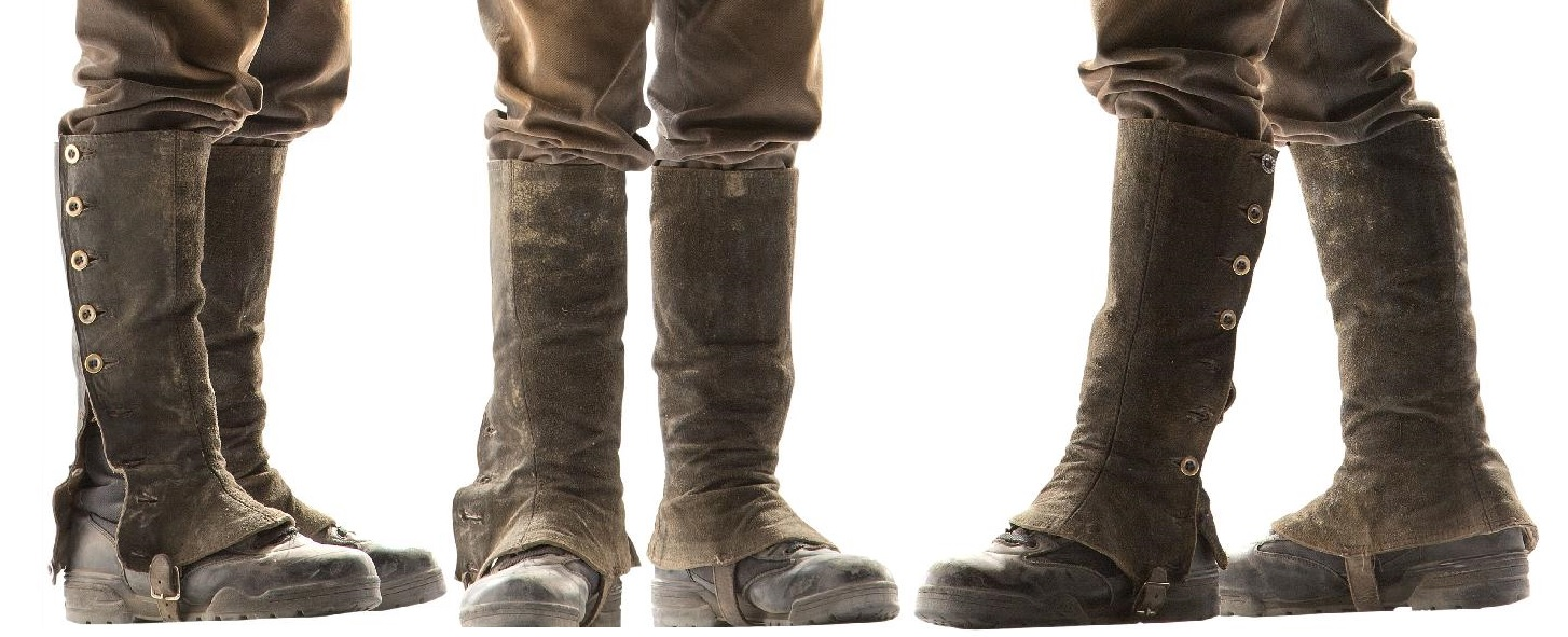 Cropped images of the half-gaiters from three different publicity shots of the War Doctor