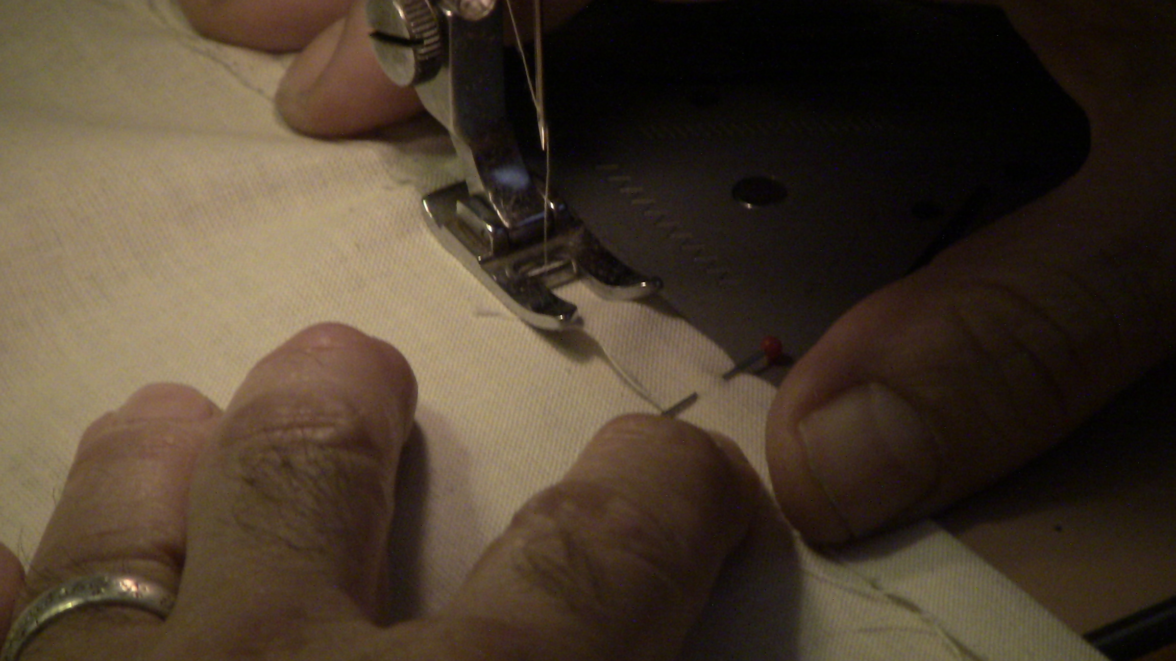 Obligatory shot of me sewing a seam, proving that I do, in fact, sew.