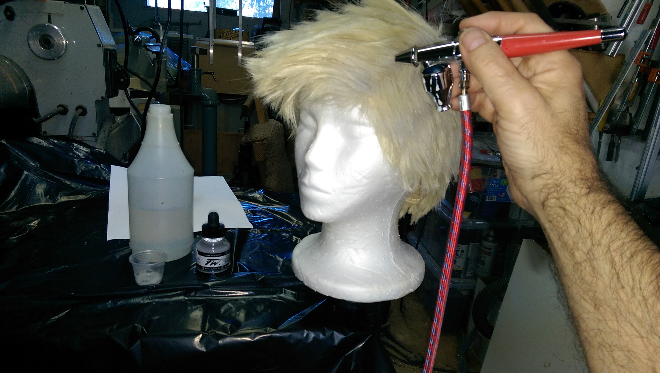 Coloring the wig with FW ink using an airbrush
