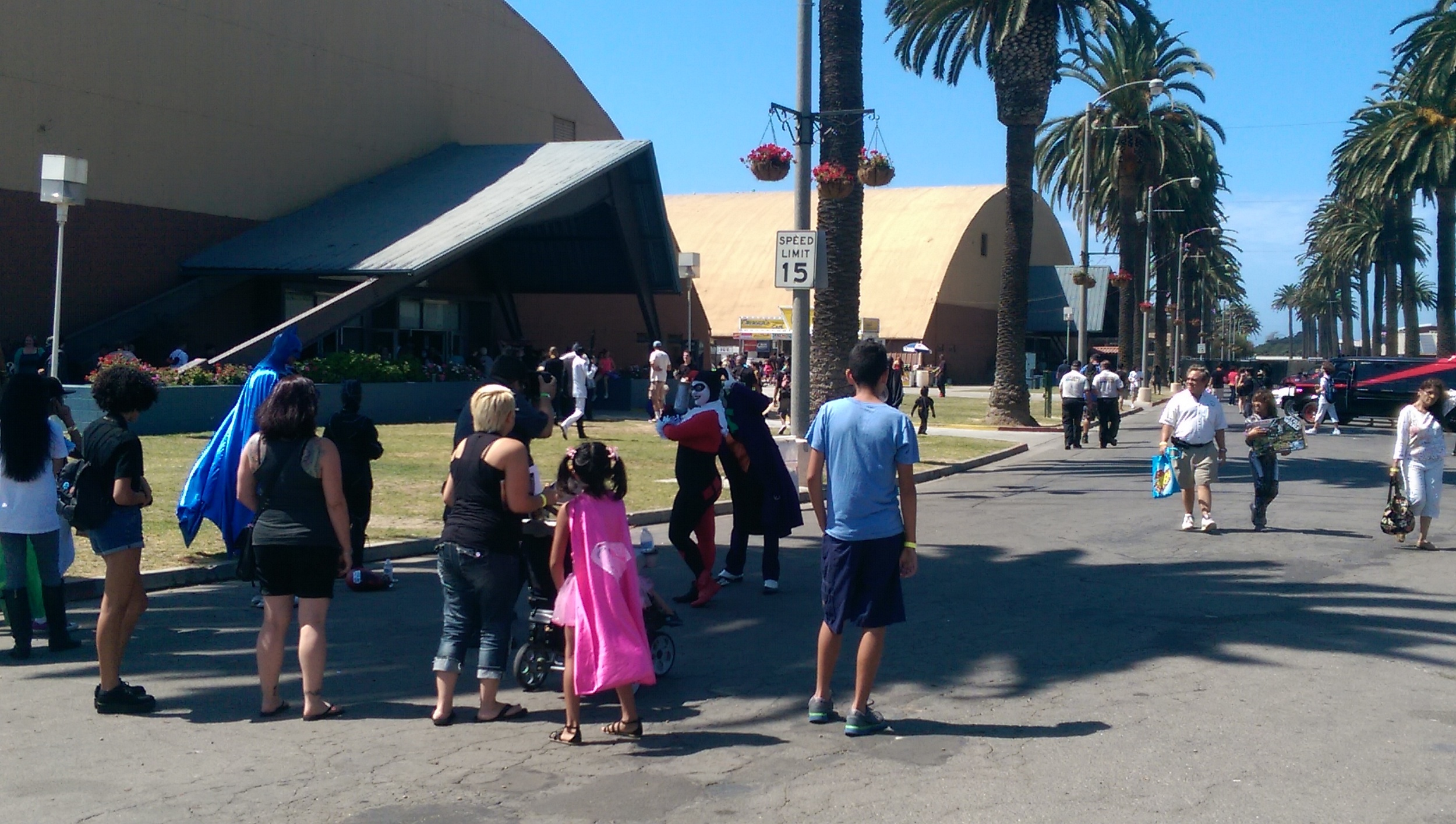 Outside the convention halls: plenty of families and lots of cosplay