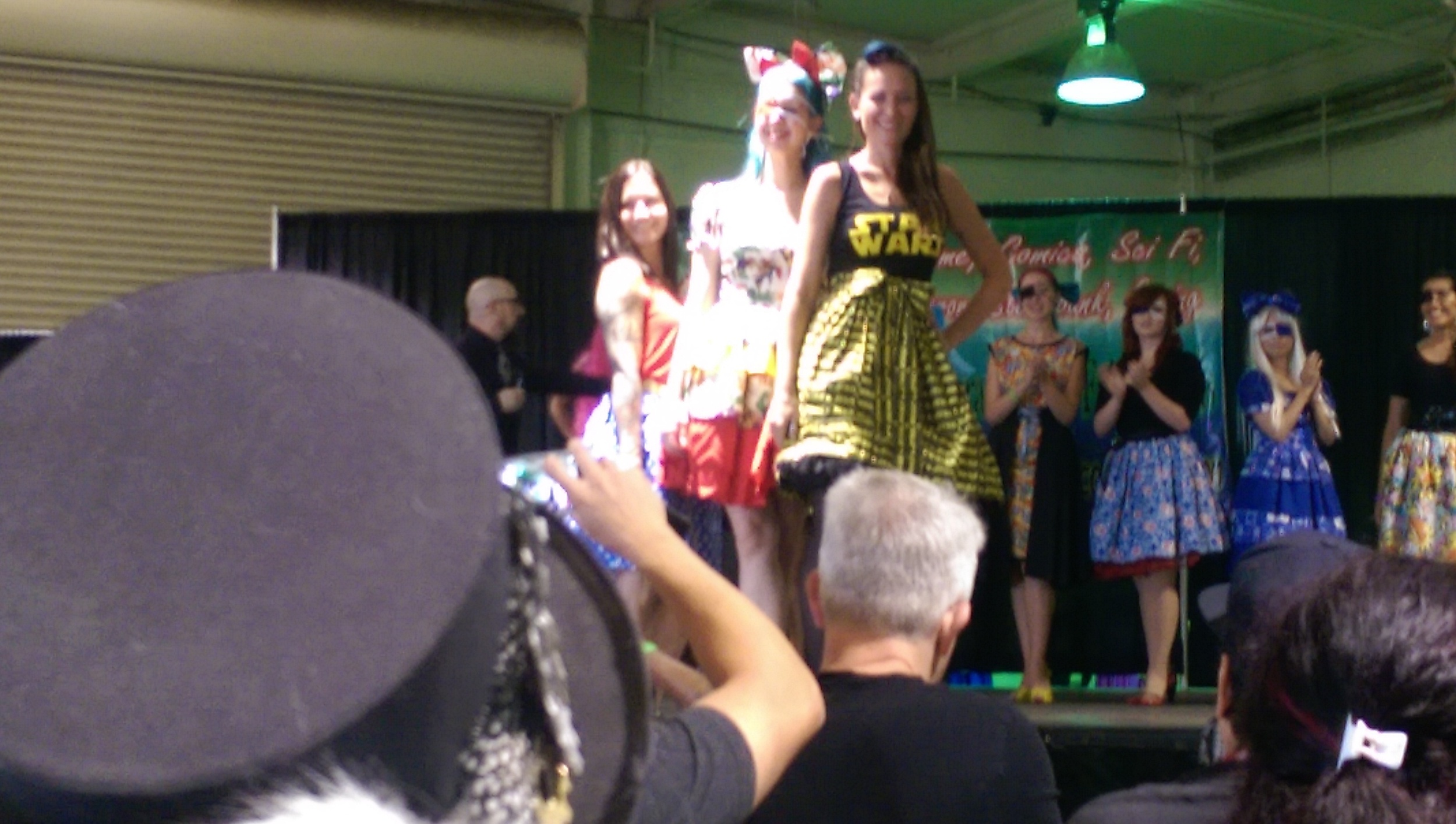 The Geek Fashion Show, the line in the photo was designed by  Girl With One Eye .
