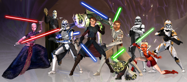The main cast of characters from Star Wars: The Clone Wars