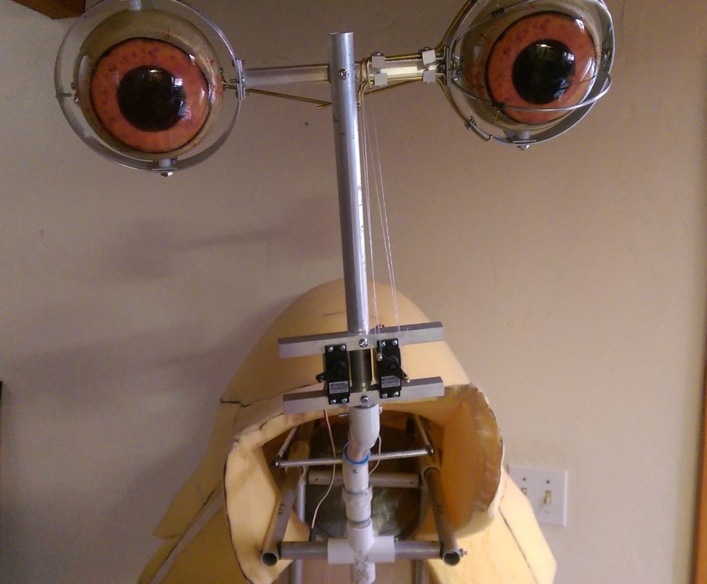 Ithorian head with the left eye blink mechanism installed.