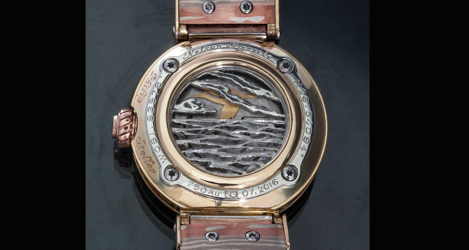 Back of watch with egret emerging on rotor.