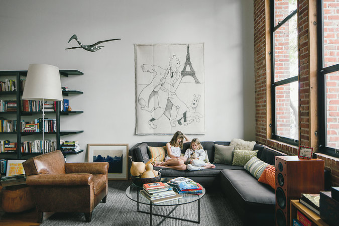 Mark Donaldson and Dawn Judd's daughters, Esmé and Clara, in the loft living room.