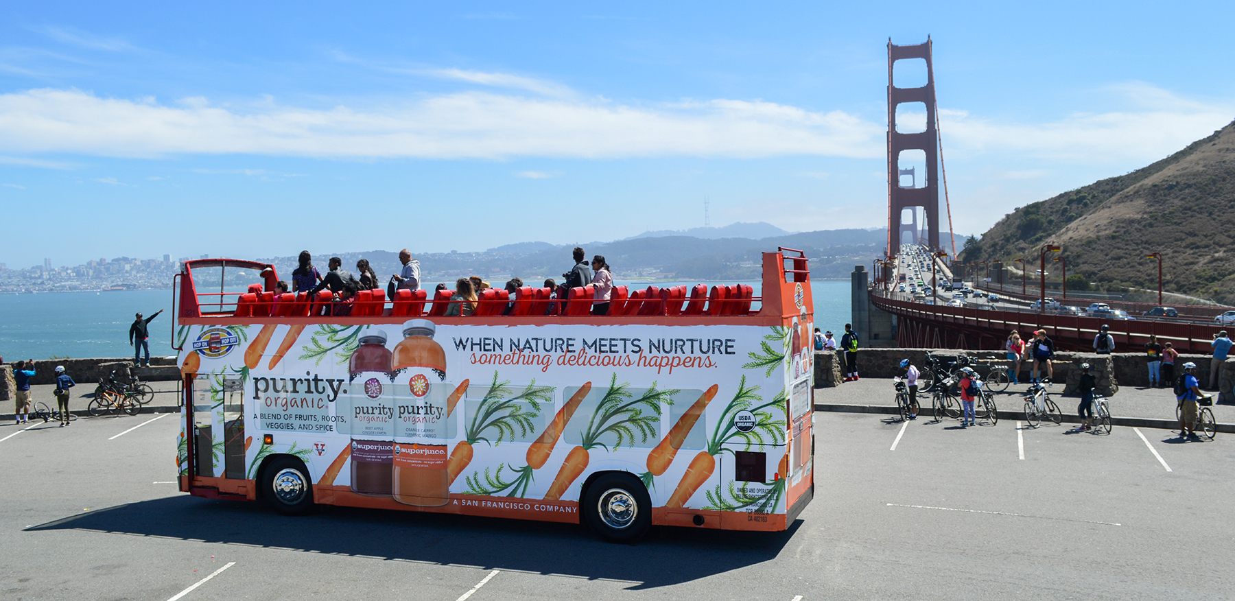 Creative direction and illustration for Purity Organic's 2016 outdoor campaign. Double Decker Bus in San Francisco