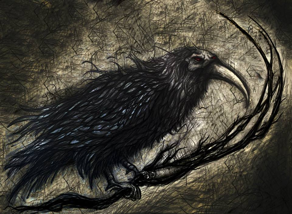 a raven at midnight 24x30