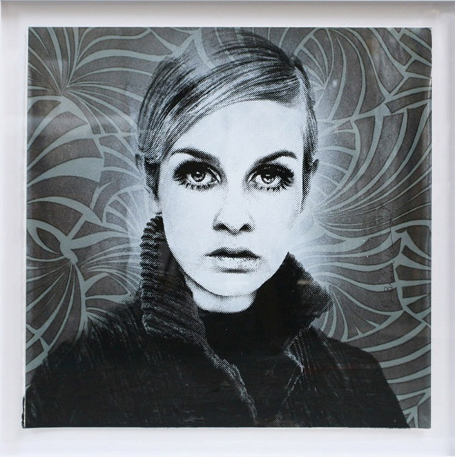 Twiggy . Silkscreen and Mixed Media on Paper . 22 x 22