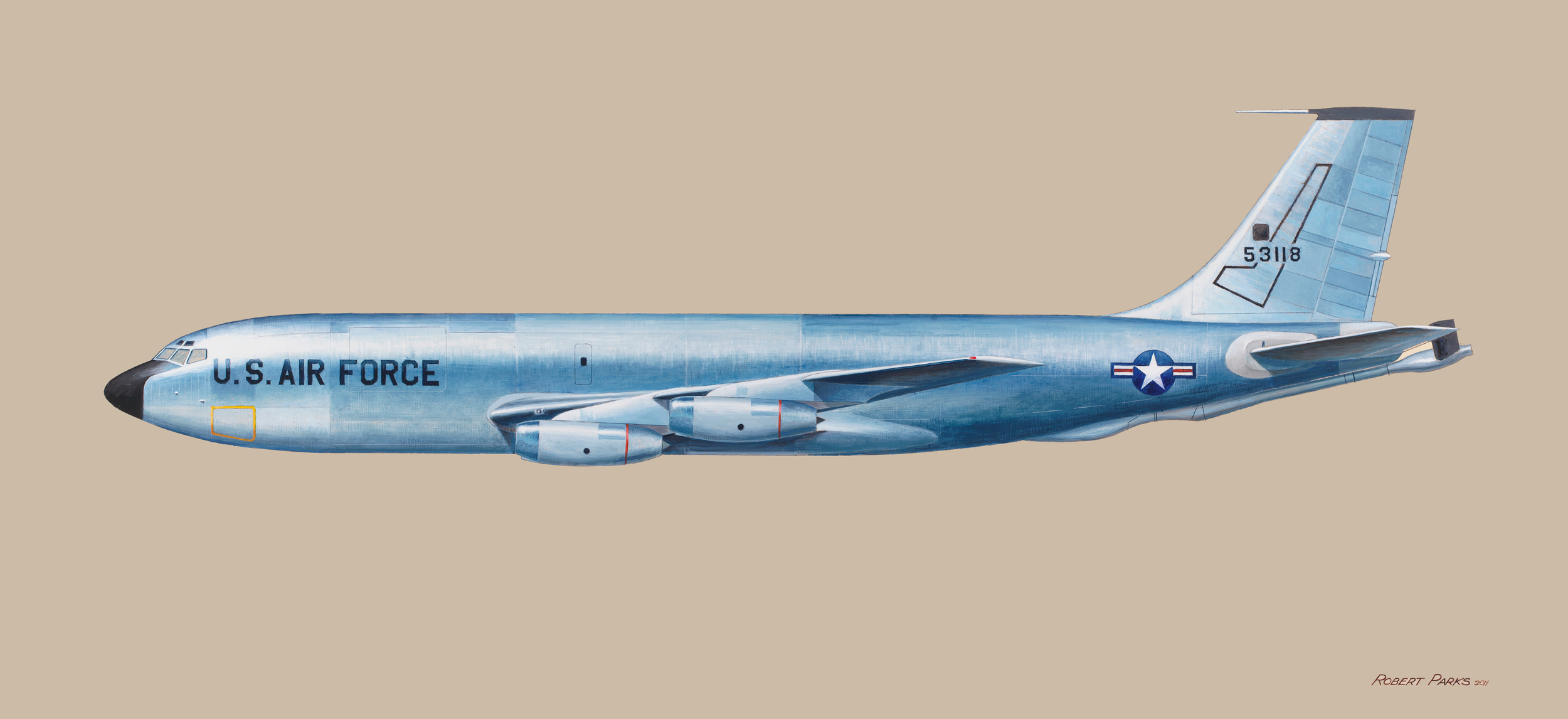 Boeing KC 135 (Air Force) . Oil on Panel . 48 x 22