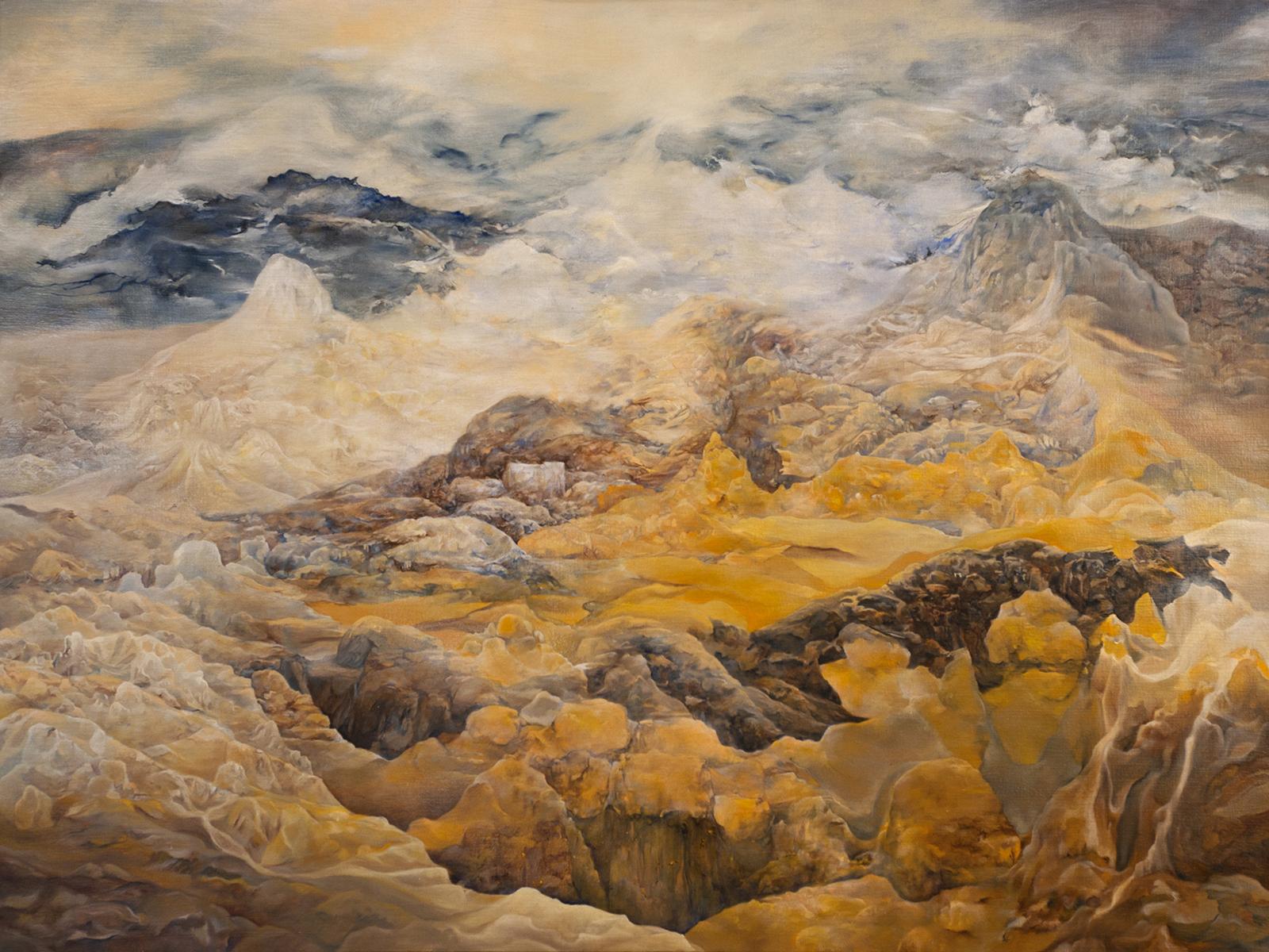 Unfolding Spark . oil on canvas . 48 x 30