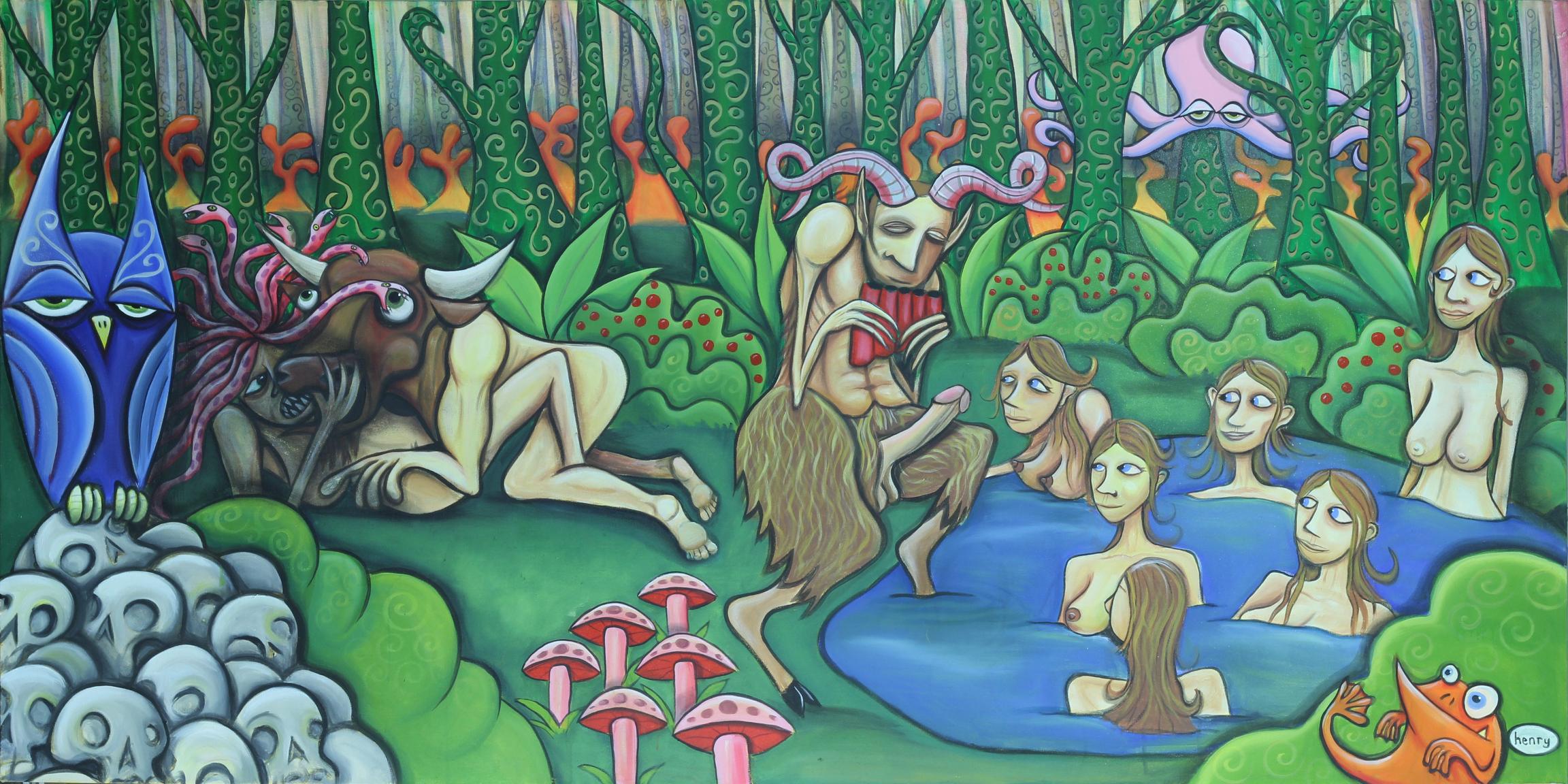 Pan's Nymphomania. acrylic on canvas .10' x 5'