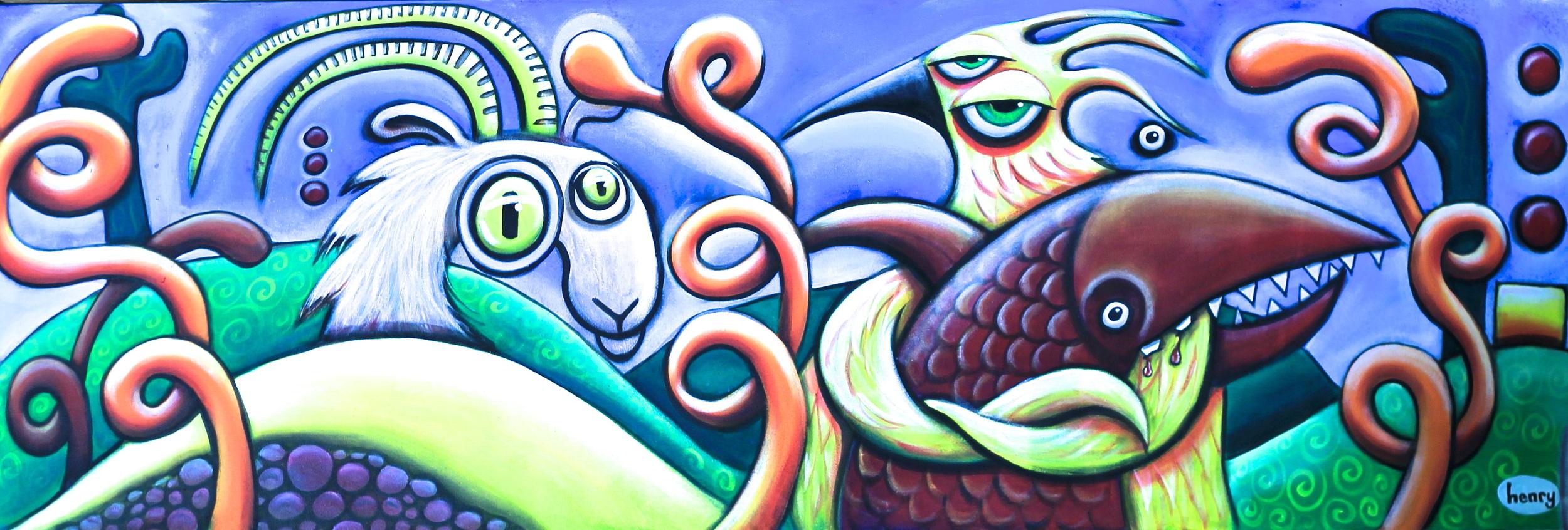 Fish Goat Bird .acrylic on canvas .9' x 3'