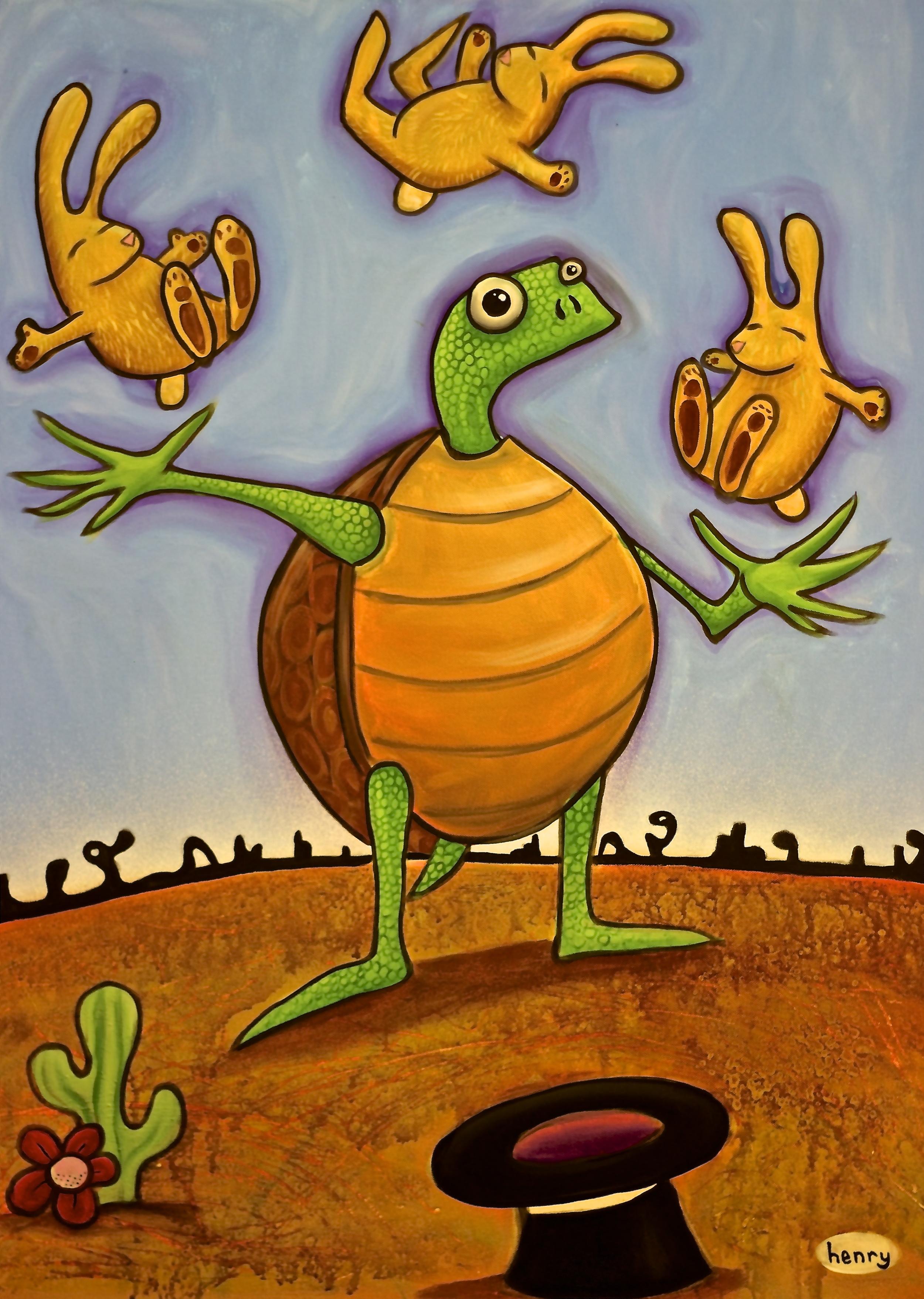 "Tortoise Juggles Hares . acrylic on canvas . 30"" x 40"""