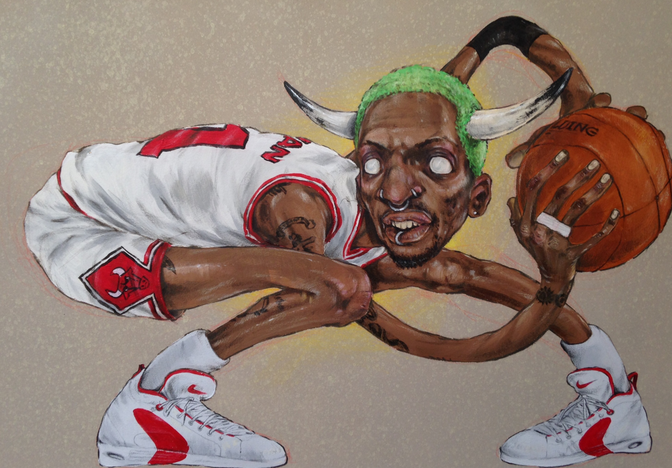Rodman . acrylic & pencil on paper