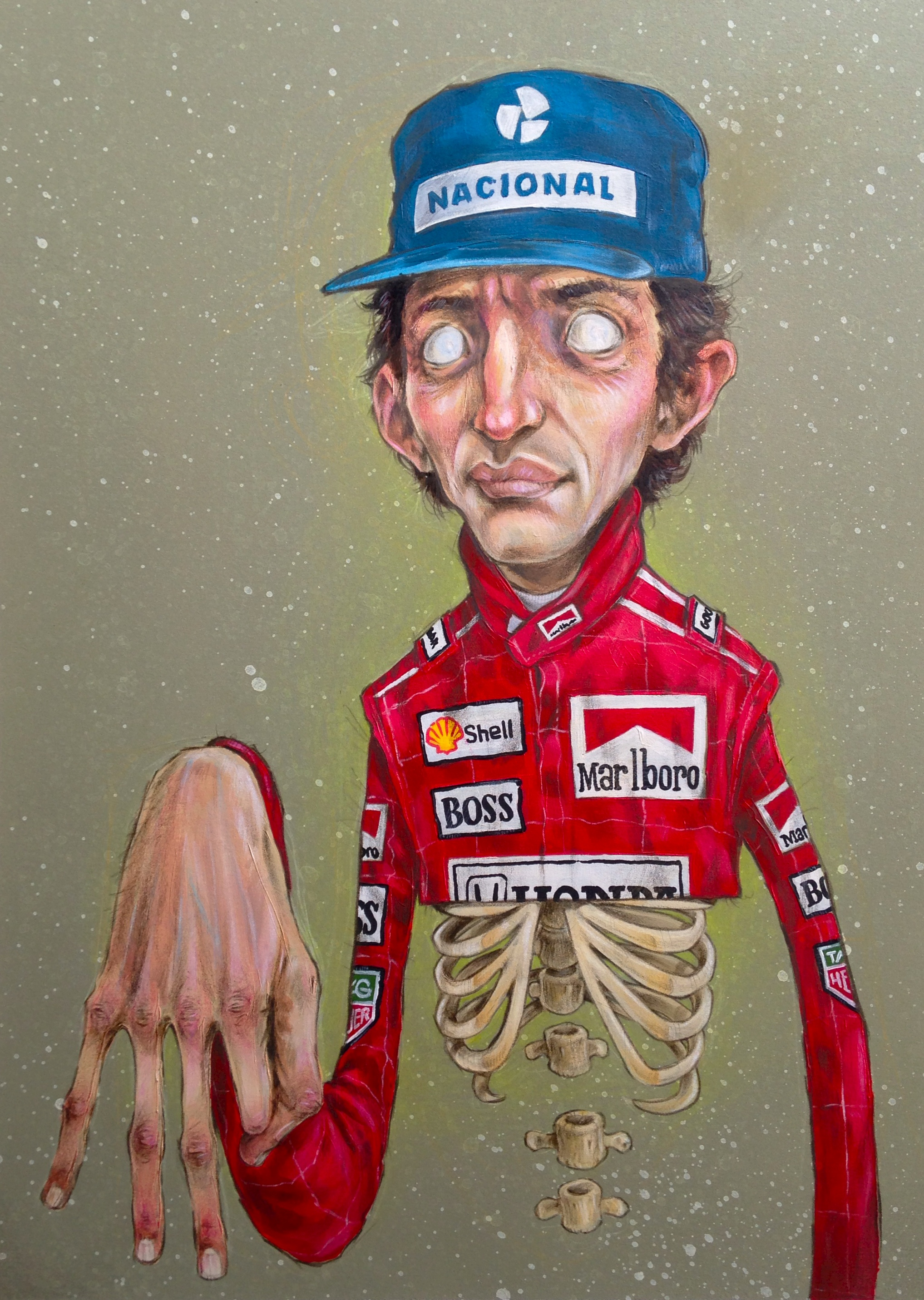 Ayrton Senna . acrylic & pencil on paper . 12 x 20