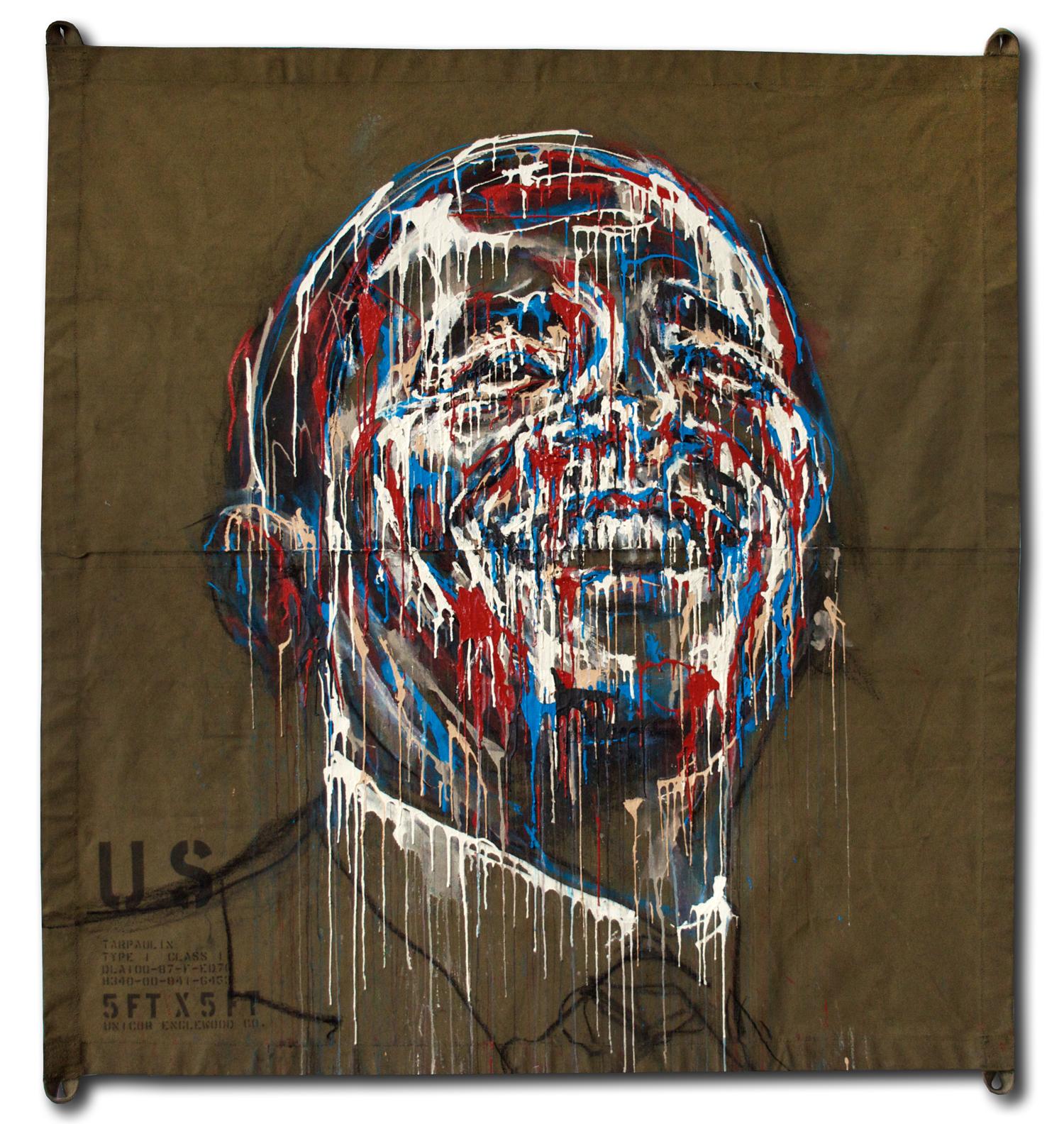 Obama . acrylic on army tarp .60 x 60