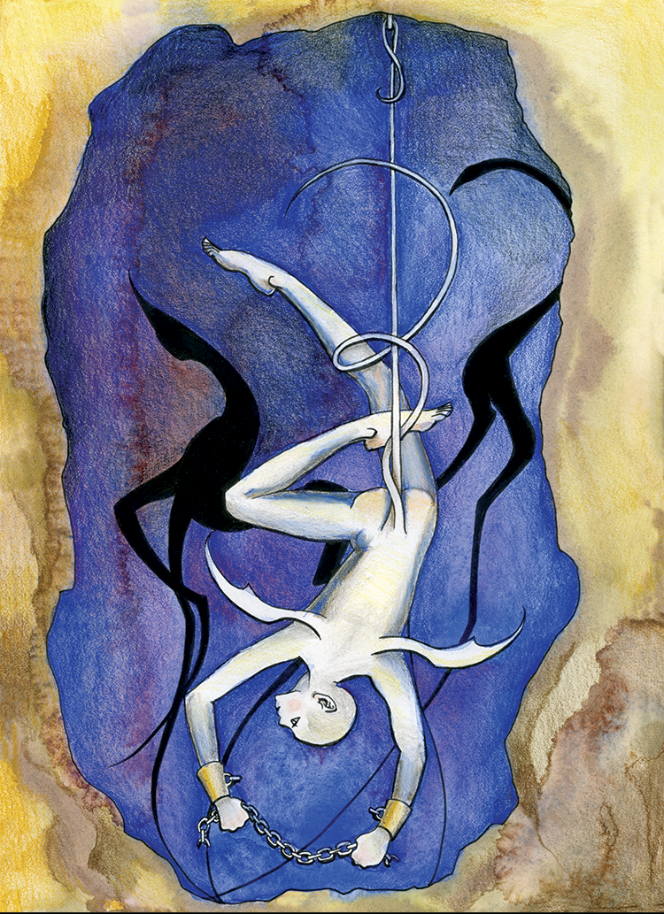 XII: The Hanged Man (2003). Ink, watercolor, and colored pencil on paper.