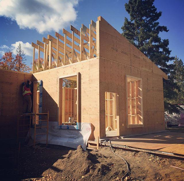Framing progress at Candle Lake Visitor Centre.