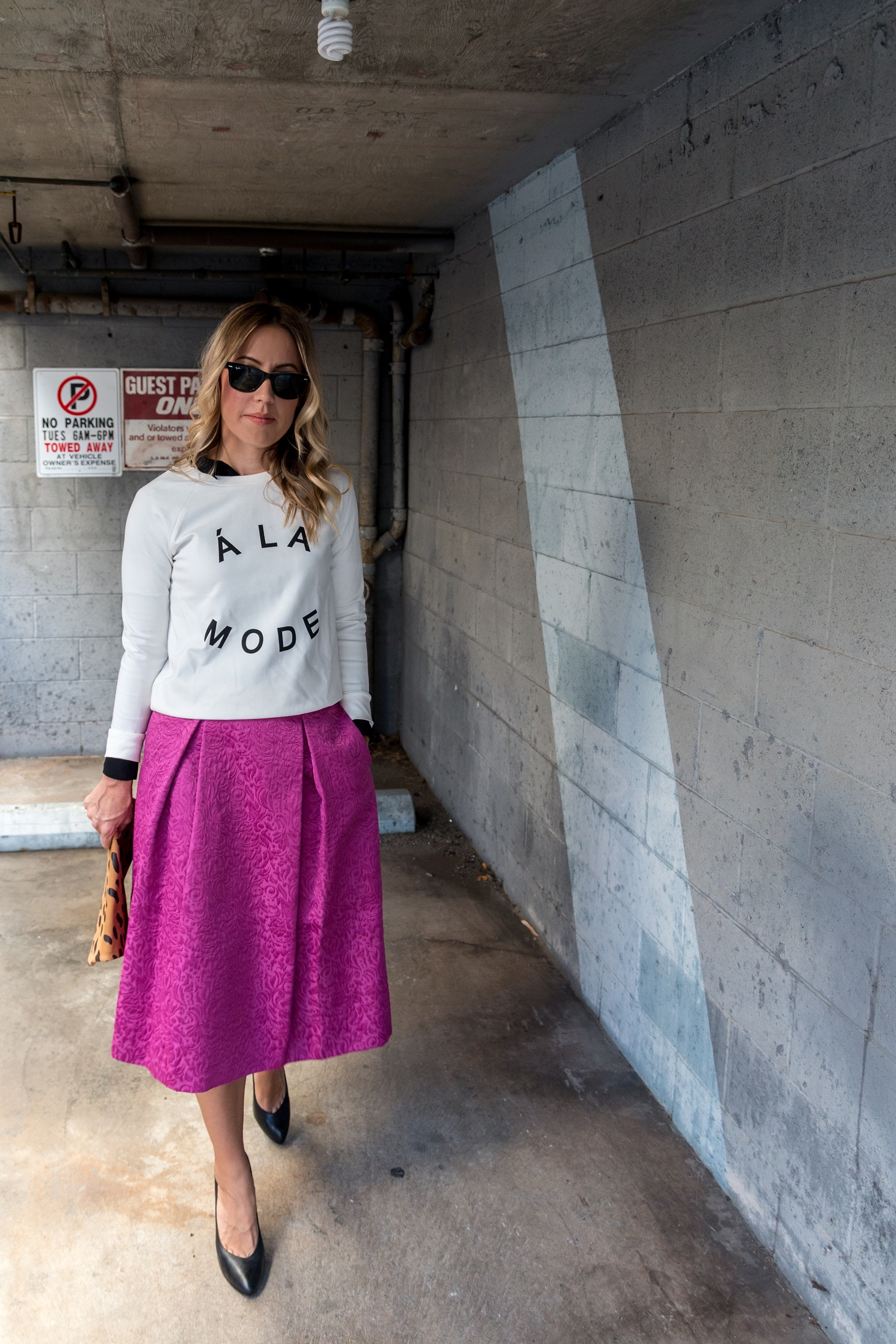 Photos by Trevor Axt Photography / @trevoraxtphotography   Pullover  Banana Republic  / Skirt  Nordstrom  / Shoes Rachel Zoe (old) / Clutch  Clare V.  / Pinkie Rings  Forever 21  / Nail Polish  Essie Urban Jungle