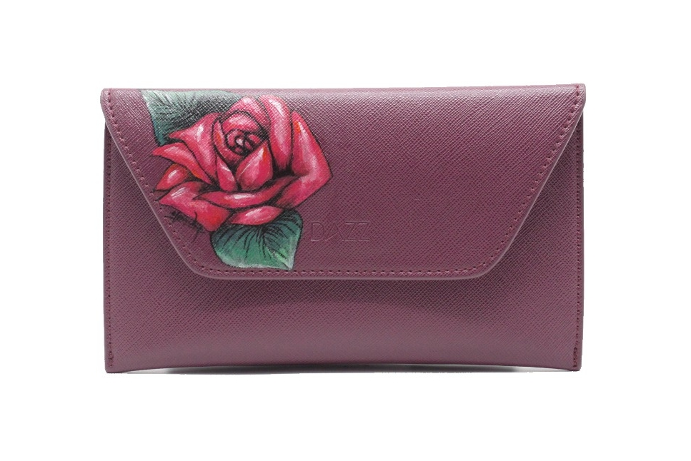 Hand-painted Red Rose Clutch