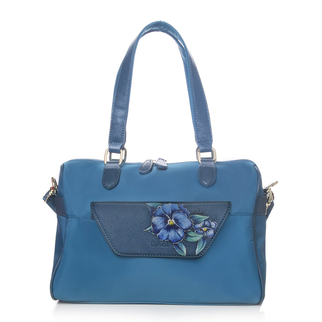 Dazz Blue Pansies hand painted bag