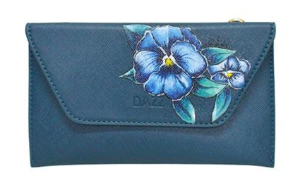 Hand painted flowers on clutch