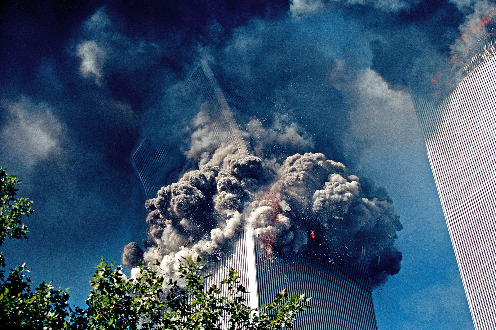 09:59 am, September 11, 2001. The south World Trade Center collapses
